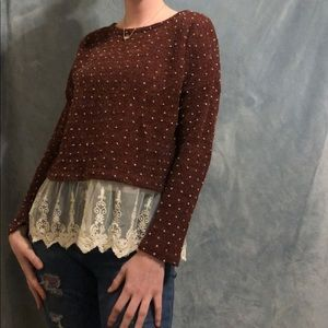 Cropped Maroon Sweater Blouse Polka Dot and Lace